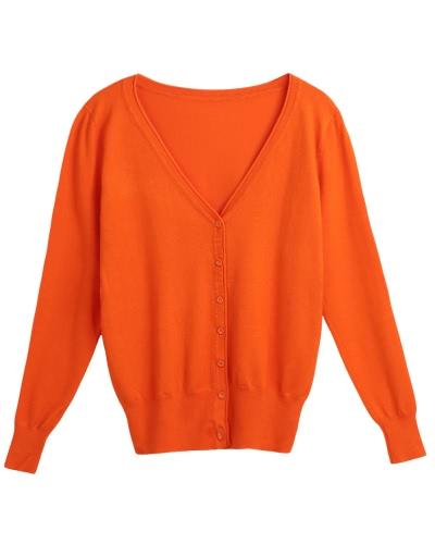 Новые женские сплошные трикотажные пальто свитера с воротником V-образным вырезом с длинным рукавом Женские повседневные трикотажные изделия фото
