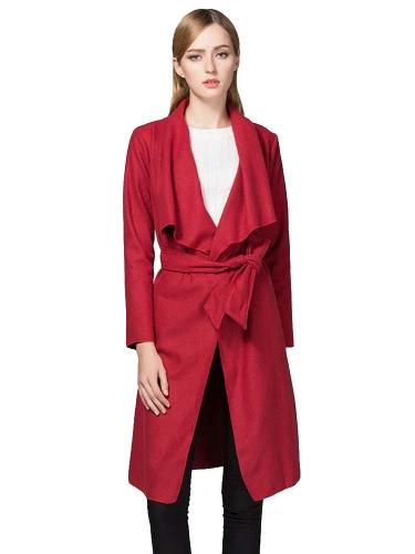 Fashion Women Long Cardigan Draped Coat Long Sleeve Slim Solid Belted Autumn Winter Outerwear Overcoat