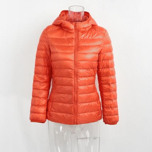 Nuevas mujeres de otoño de invierno Duck Down chaqueta con capucha Zipper mangas largas Slim Light Down Coat