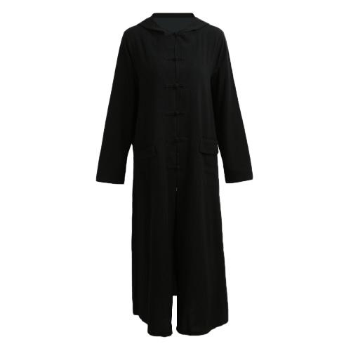 Primavera Outono Mulheres Vestido vintage Com capuz de manga comprida Casual Loose Vestido de algodão sólido Borgonha / Azul escuro / Preto