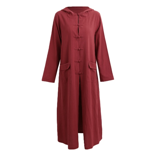 Primavera Otoño Mujer Vintage Vestido con capucha de manga larga casual suelta algodón sólido vestido de Borgoña / Azul oscuro / Negro