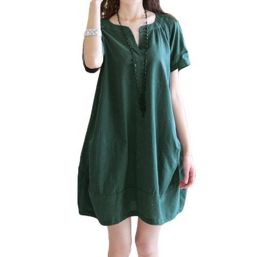 Moda Mulheres Grande Tamanho V-Neck Bolinhas De Bolinhas Bolso De Manga Curta A-Line Dress For Pregnant Women DressN