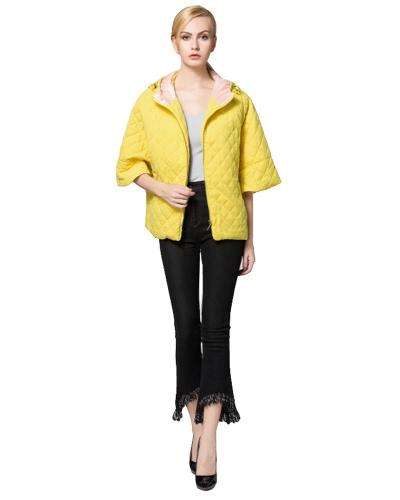 Mode Frauen Kapuzenmantel gesteppte halbe Hülse lose niedliche kurze Jacke Baumwolle gepolsterte Parka Oberbekleidung dunkelblau / blau / gelb