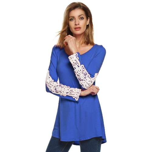 Mujeres Camiseta sin mangas larga Crochet Lace Flared Hem Flowy Swing Camisetas Casual Tops