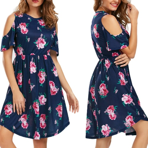 Sexy Women Mini Dress Floral Print Cold Shoulder Cut Out O-Neck Short Sleeves Elegant Party Dress Dark Blue