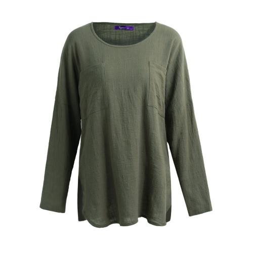 Vintage algodón suelto de manga larga informal de manga larga blusa