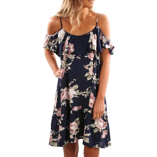 Spalle delle donne della spalla le increspature della spalla fredda stampa la cinghia di vestito da estate della spiaggia del vestito sexy dal partito di Boho bianco / azzurro scuro