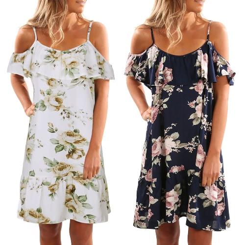 От Женщины на плечах Холодные наплечные ремни печати Летние платья для беременных пляж Boho партии сексуальное платье белый / темно-синий