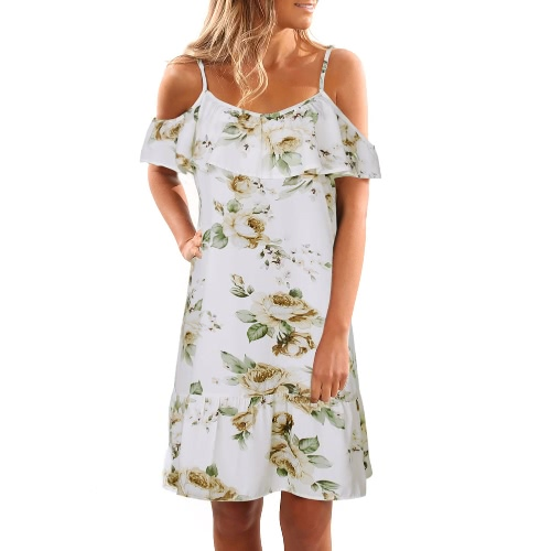 Off hombro mujeres fría de hombro volantes Print verano vestido correa de playa Boho partido vestido sexy blanco / azul oscuro