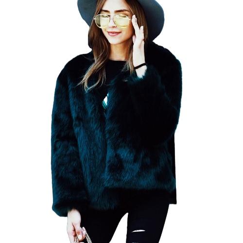 Frauen Winter Pelz Mantel Langarm Faux Pelz Oberbekleidung Damen Short Style Jacke Flauschig Warm Mantel