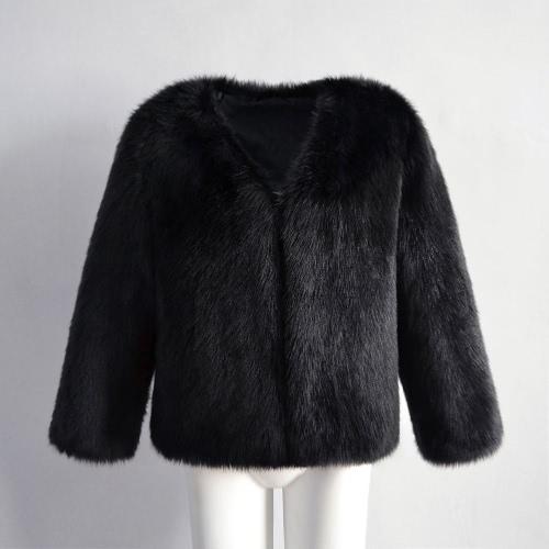 TOMTOP / Mujeres abrigo de piel de invierno de manga larga de piel sintética prendas de abrigo Ladies Short chaqueta de estilo mullido abrigo caliente