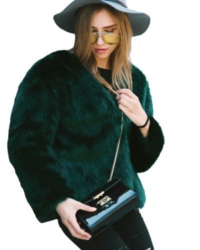 Women Winter Fur Coat Long Sleeve Faux Fur Outerwear Ladies Short Style Jacket Fluffy Warm Overcoat