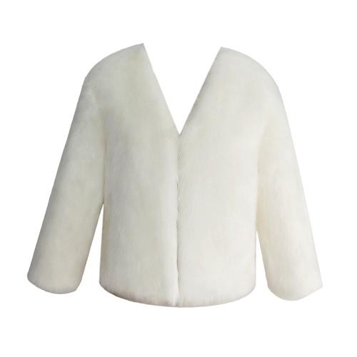 Mujeres abrigo de piel de invierno de manga larga de piel sintética prendas de abrigo Ladies Short chaqueta de estilo mullido abrigo caliente