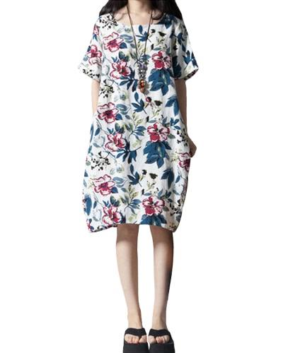 Vintage Women Loose Cotton Dress Pochettes à imprimé floral ethnique à manches courtes Casual Robe longue en du Midi Blanc