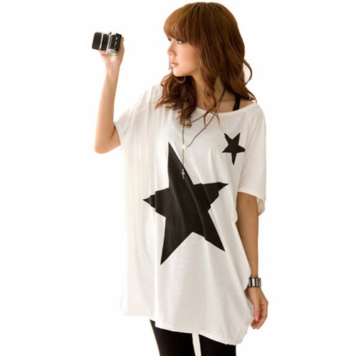 Fashion Women Long T-Shirt Stars Print Round Neck Short Sleeves Loose Tee Tops White/Grey