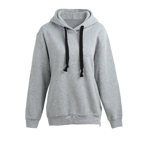Fashion Side Zipper Hooded Neck Drawstring mangas largas de las mujeres Hoodies