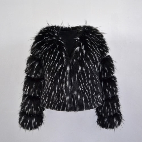 Women Winter Faux Fur Coat Long Sleeve Fluffy Outerwear Ladies Short Jacket Hairy Warm Overcoat Black/Blue