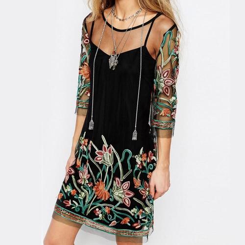 Women Sexy Sheer Mesh Dress Flower Embroidery Spaghetti Strap Summer Mini T-Shirt Dress Black