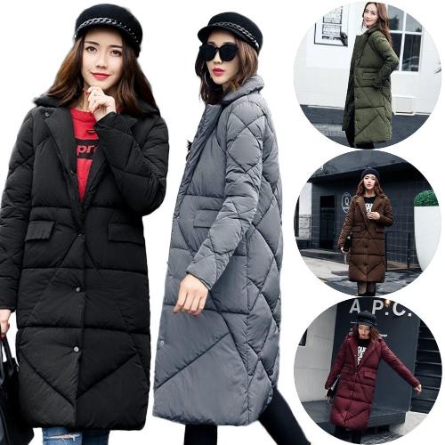 Women Down Padded Jacket Pockets H-Line Winter Warm Coat Solid Long Parka Overcoat Outwear