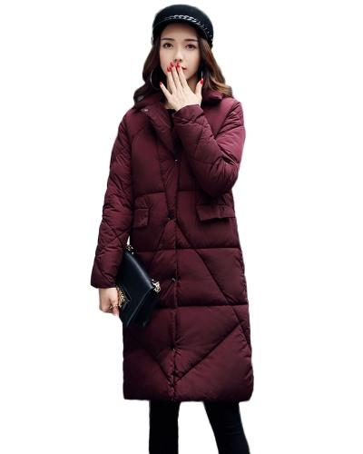 Bolsos acolchados de la chaqueta de las mujeres H-Line abrigo caliente del invierno sólido abrigo largo del Parka Outwear