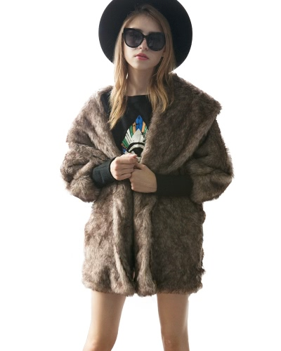 Casaco feminino Faux Fur Coat Revestimento Batwing Raglan V Neck Furry Loose Casual Longo Overcoat Outwear