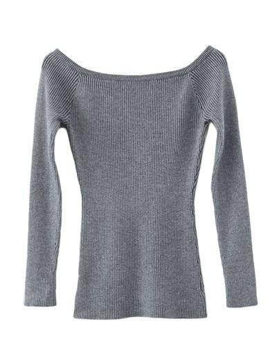 TOMTOP / Herbst Winter Basic Frauen Pullover Slash Neck Solid gestrickt schlank Pullover Thin Long Ärmel Pullover Top