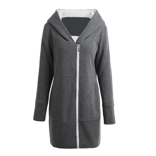 Las nuevas chaquetas de las mujeres del invierno del otoño cubren la capa caliente del paño grueso y suave que envuelve para arriba la chaqueta larga ocasional de las chaquetas de Sudadera con capucha más tamaño