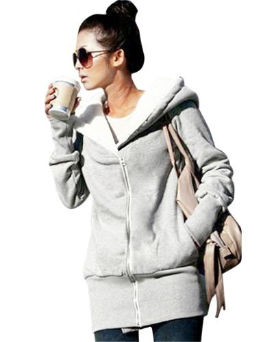 Felpe con cappuccio da donna in inverno delle nuove donne in autunno Felpa con cappuccio caldo Zip Up Felpe con cappuccio Felpe con cappuccio lungo Casual Jacket Plus Size