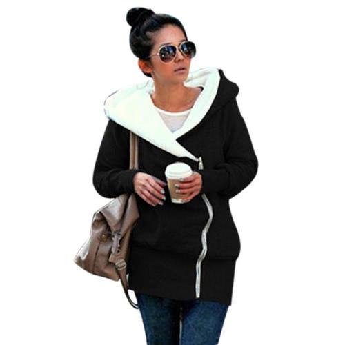 Las nuevas chaquetas calientes de las mujeres del invierno del otoño cubren la chaqueta larga ocasional de la capa de la cremallera de la capa de la prendas de vestir exteriores con capucha más tamaño