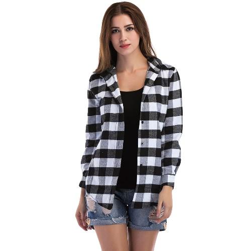 Neue Frauen-Plaid-Blusen-Hemd-Knopf-lange Hülse Unregelmäßige beiläufige Kontrolle-Blusen-Oberseiten Schwarzes / Rot