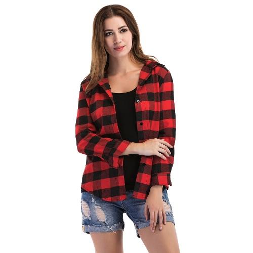 Новые женщины плед рубашки рубашки кнопки с длинным рукавом нерегулярные случайные проверки блузки топы черный / красный
