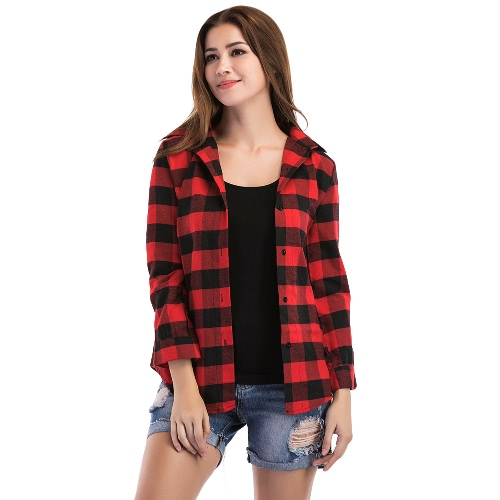 TOMTOP / Camisa de blusa de xadrez de mulher nova, camisa de manga comprida, manga longa, irregular, casual, blusas de blusa de xadrez preto / vermelho
