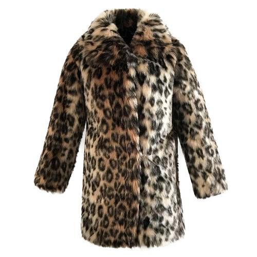 New Fashion Women Faux Fur Leopard Coat Manga comprida Turn-Down Collar Trench Coat Warm Outwear Brown