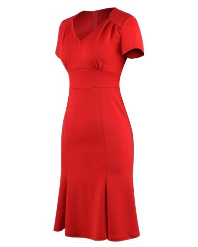 Elegant OL Women Dress V Neck Short Sleeve High Waist Slim Fit Office Dress