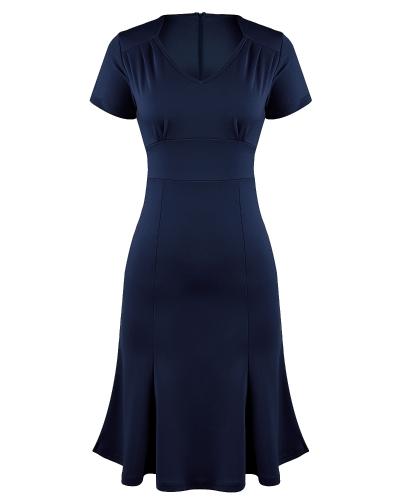 Elegante OL vestido de las mujeres de cuello en V manga corta de cintura alta Slim Fit vestido de oficina