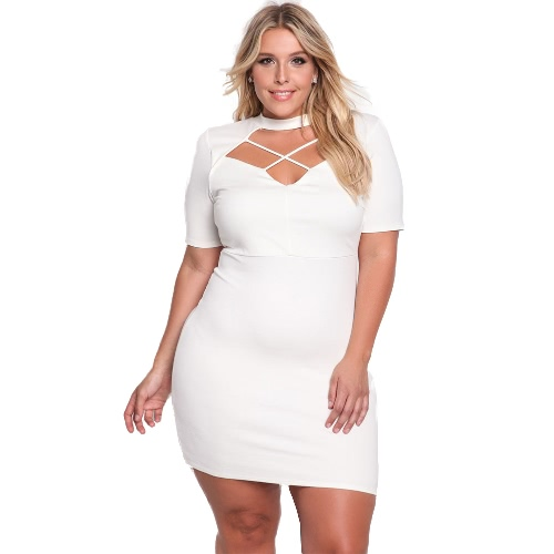 Sexy Women Plus Size Dress Cor sólida Cross Strap Cut Out High Choker Neck Bodycon Nightclub One-Piece Branco / Rosa