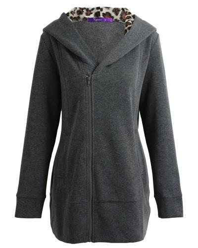 Mujeres Hoodie con capucha Sweatershirt Fleece Leopard mangas largas bolsillos Zippered largo Hoody Outwear