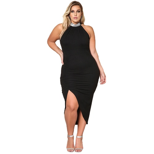 Women Solid Dress Plus Size High Neck Sleeveless Party Big Large Size Casual Slim Sheath Dress Black/Khaki