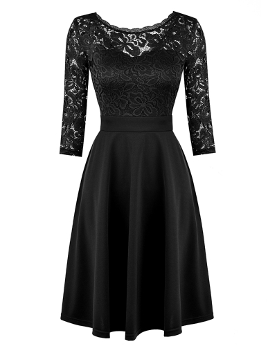 Mulheres OL Vestido Lace 3/4 Sleeve High Waist A-Line Vestido Preto / Azul escuro
