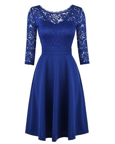 Vestido OL de encaje de mujer 3/4 manga Vestido de cintura alta negro / azul oscuro
