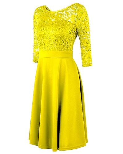 Women OL Dress Lace 3/4 Sleeve High Waist A-Line Dress Black/Dark Blue