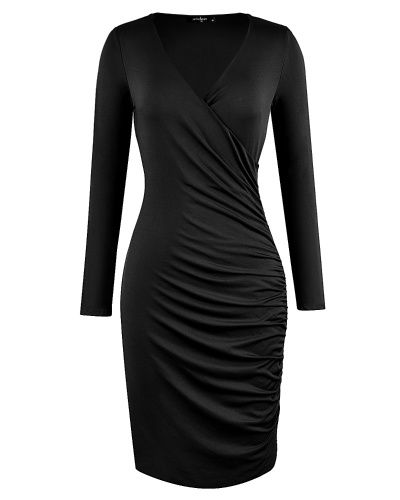 Women OL Dress Sexy V Neck 3/4 Sleeve Bodycon Dress