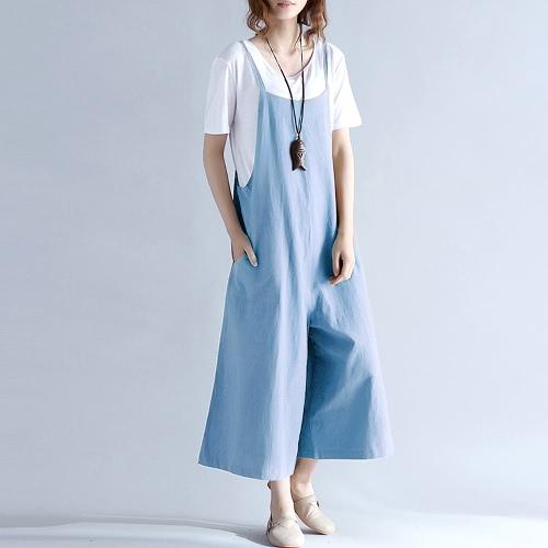 Свободные длинные брюки Брюки комбинезон Женские подтяжки Брюки