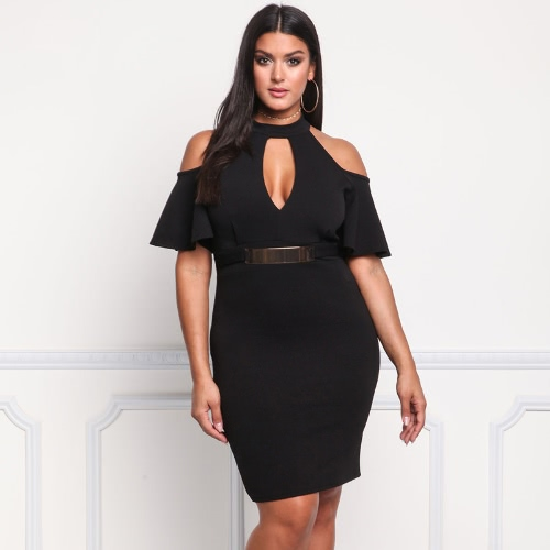 Frauen Plus Size Dress Off Schulter Ausgeschnitten Chocker Butterfly Sleeve Bleistift Bodycon Sexy One-Piece