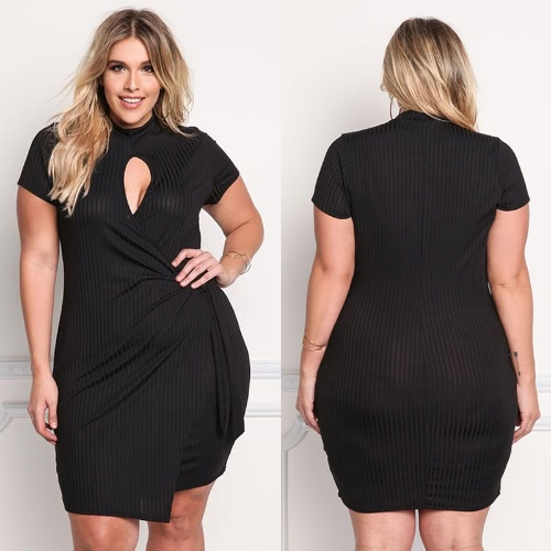 Sexy Women Plus Size Mini Dress Cutout Front Asymmetric Short Sleeve Solid Slim Bodycon Large Size Knitted Dress Black