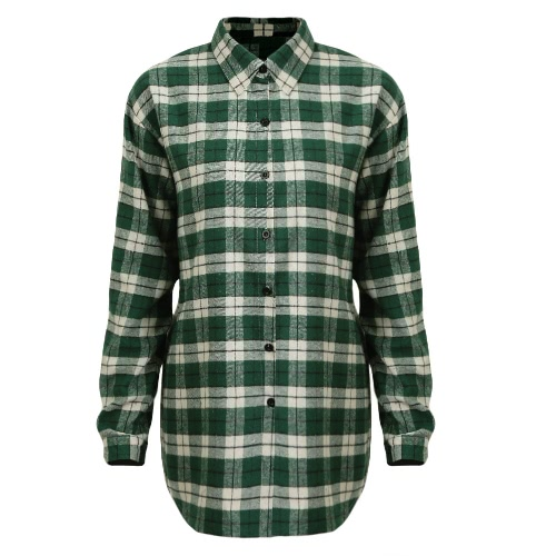 New Women Blusa Plaid Button Irregular Hem mangas compridas Loose Casual Shirt Dress Top Vermelho / Verde / Cinza