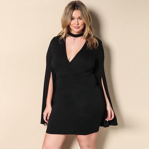 Mulheres Tamanho Grande Mini-Vestido V-Neck Choker Split Sleeve Bodycon Party Dress Black
