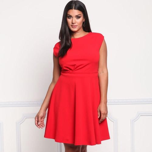 Mujeres Vestido Sólido Cuello Redondo Sin Madre Partido Grande Grande Tamaño Ocasional Vestido Múltiples Rojo / Rosa / Azul Oscuro