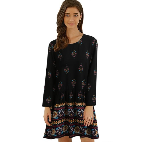 New Vintage Women Plus Size Floral Shift Dress Keyhole Voltar O Neck Long Sleeve Vestido Boho Relaxado Preto