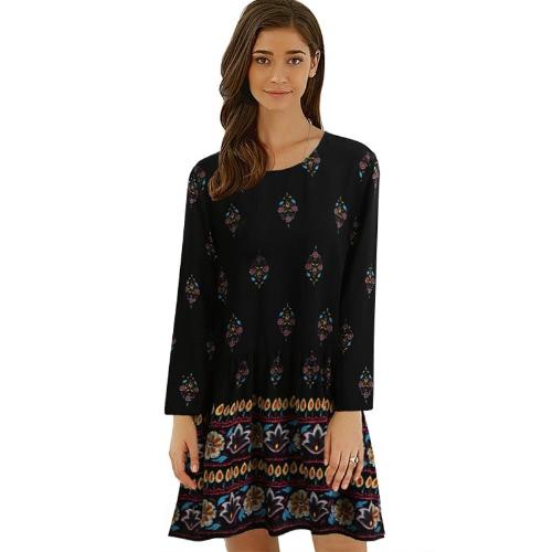 Neue Vintage Frauen Plus Size Floral Shift Kleid Schlüsselloch Zurück O Hals Langarm Relaxed Boho Kleid Schwarz
